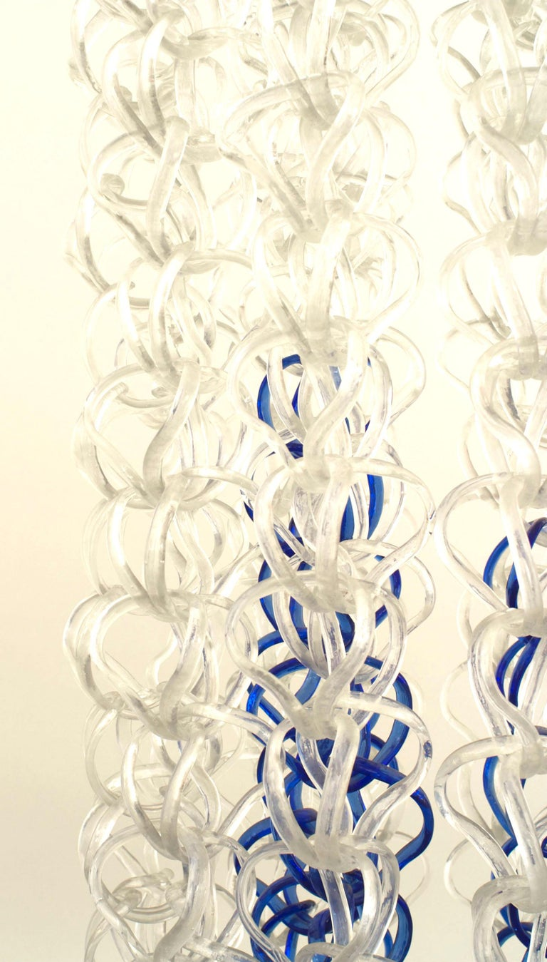 Mid-Century Modern Angelo Mangiarotti Italian Post-War Crystal and Blue Glass Chandelier For Sale