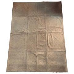 Italian Postmodern Design Natural Tan Blond Leather Cow Carpet Rug, 1990
