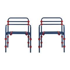 Italian Postmodern Pair of Armchairs in Red and Blue