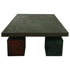 1970 Italy Post Modern  Rectangular Green Wood Coffee Table by Delagneau