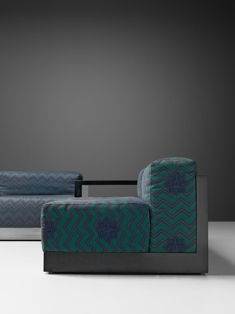 Italian Postmodern Sectional Sofa in Turquoise and Blue Upholstery For Sale 5