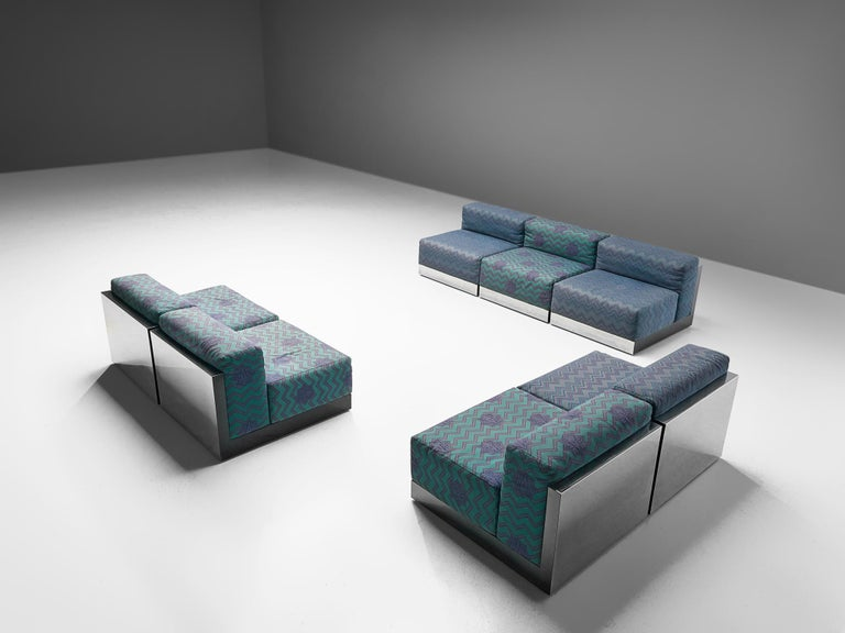 Italian Postmodern Sectional Sofa in Turquoise and Blue Upholstery For Sale 6