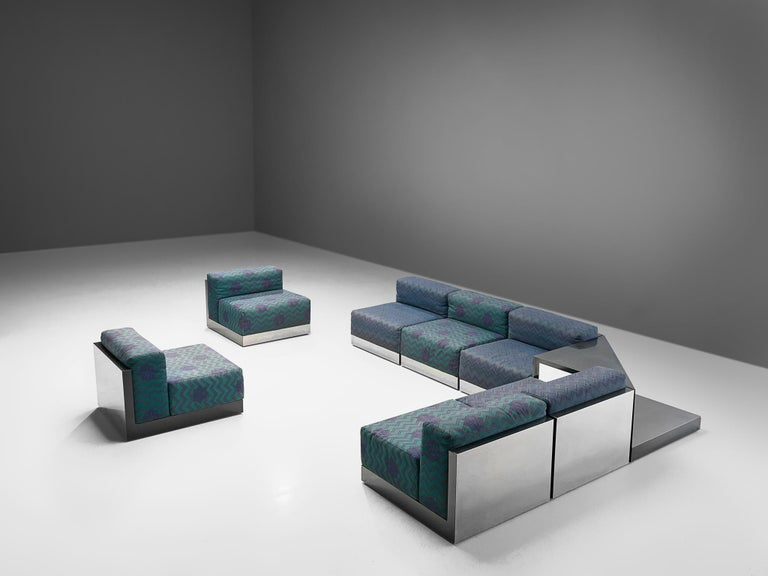 Sectional sofa, laminated wood, steel, fabric, Italy, 1980s  A Postmodern modular Livingroom set, consisting of 7 seating elements and one corner element usable as a side table. A perfect piece to place in a large space as it can be positioned as