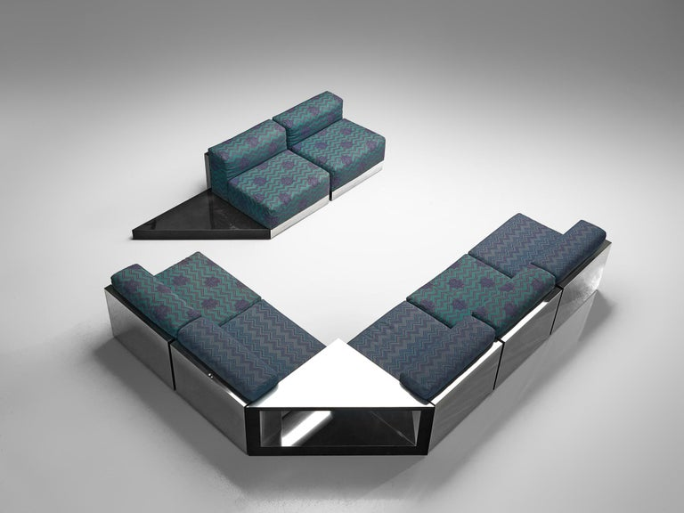 Post-Modern Italian Postmodern Sectional Sofa in Turquoise and Blue Upholstery For Sale