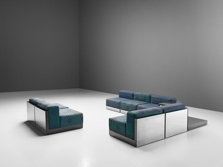 Italian Postmodern Sectional Sofa in Turquoise and Blue Upholstery In Good Condition For Sale In Waalwijk, NL