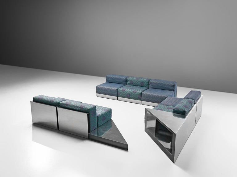 Late 20th Century Italian Postmodern Sectional Sofa in Turquoise and Blue Upholstery For Sale