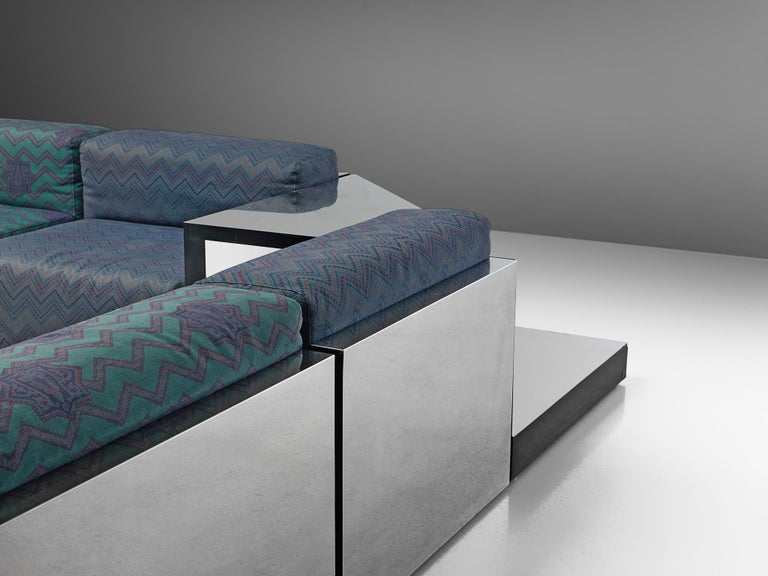 Fabric Italian Postmodern Sectional Sofa in Turquoise and Blue Upholstery For Sale
