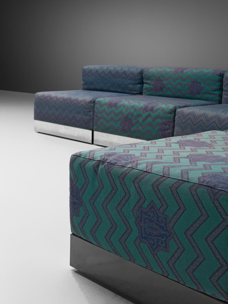 Italian Postmodern Sectional Sofa in Turquoise and Blue Upholstery For Sale 3