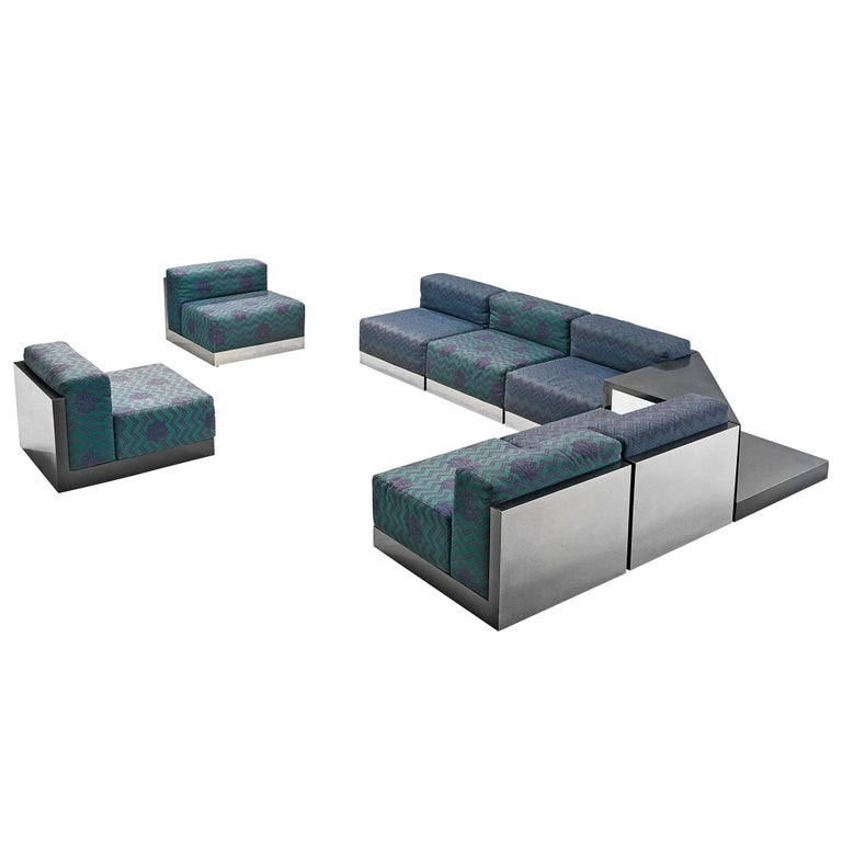 Italian Postmodern Sectional Sofa in Turquoise and Blue Upholstery For Sale