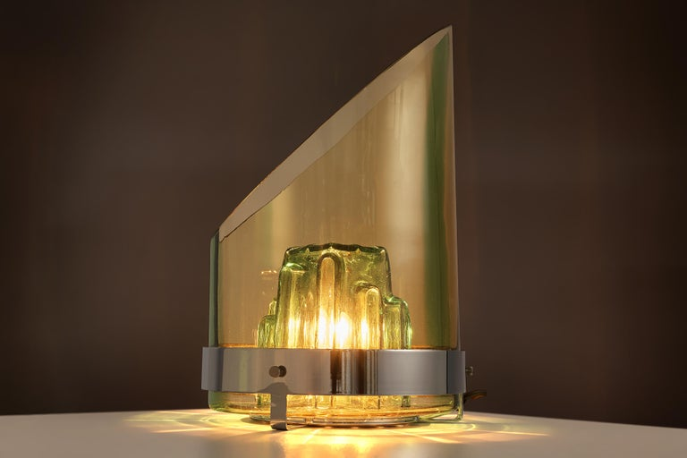 Metal Italian Postmodern Table Lamp in Glass For Sale