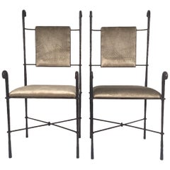 Italian  Set of Four Postmodern Wrought Iron Dinner Chairs, 1980