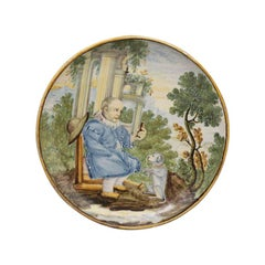 Italian Pottery Handpainted Dish with Male Figure Offering a Morsel 17th Century