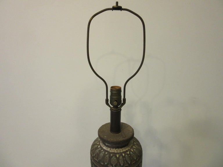 Italian Pottery Lamp in the Style of Fantoni For Sale 2