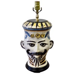 Italian Pottery Whimsical Face Table Lamp
