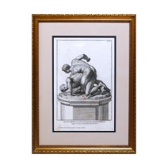 Italian Print Illustration of Two Men Wrestling, Copper Plate Engraving