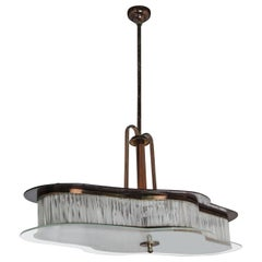 Italian Production, Brass and Copper Chandelier, 1930s