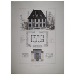 Italian Provencal French Style Architecture Hand Painted Print '4 of 4'