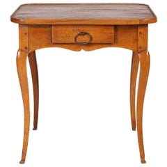 Italian Provincial 18th Century Oakwood Side Table with Leather Lined Top