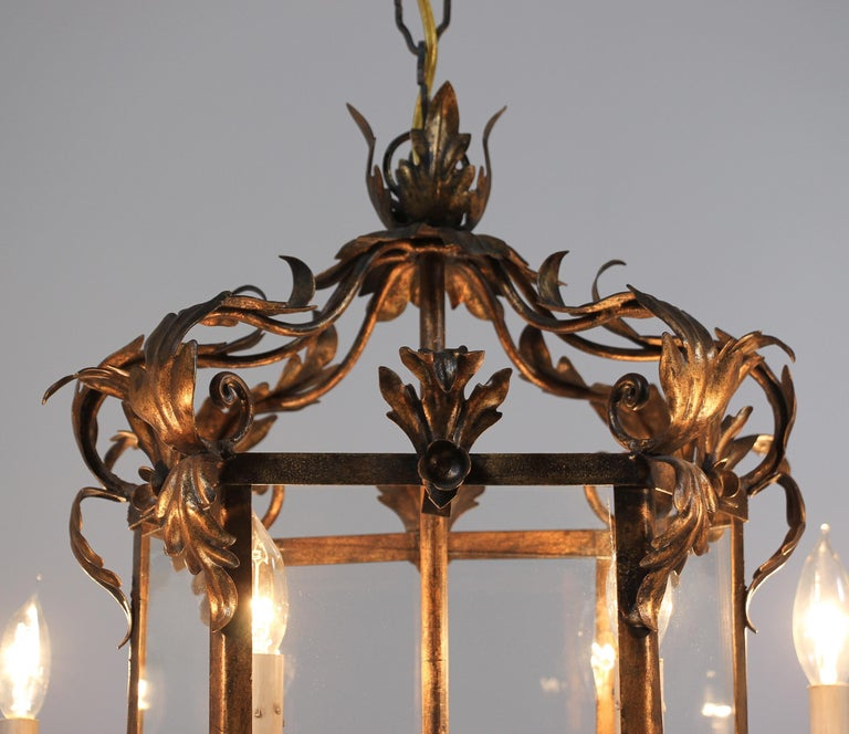 French Provincial Italian Provincial Style Gilt Iron Chandelier For Sale