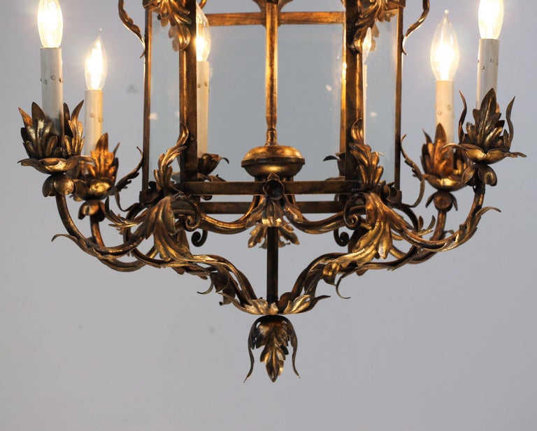 Italian Provincial Style Gilt Iron Chandelier In Good Condition For Sale In Los Angeles, CA