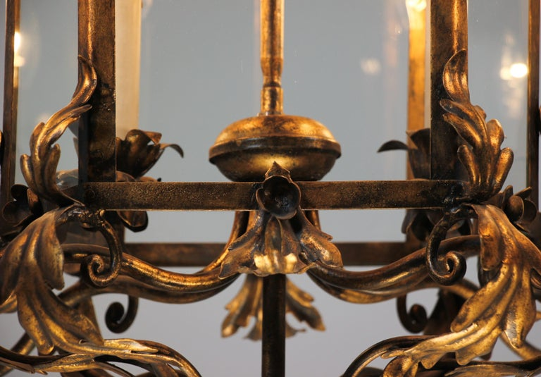 Mid-20th Century Italian Provincial Style Gilt Iron Chandelier For Sale