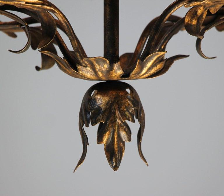 Italian Provincial Style Gilt Iron Chandelier For Sale 1