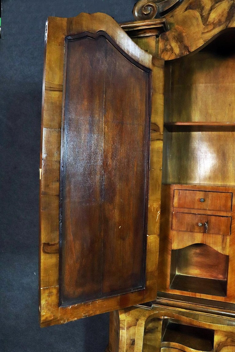 Mirror Italian Provincial Style Olivewood Secretary Desk For Sale