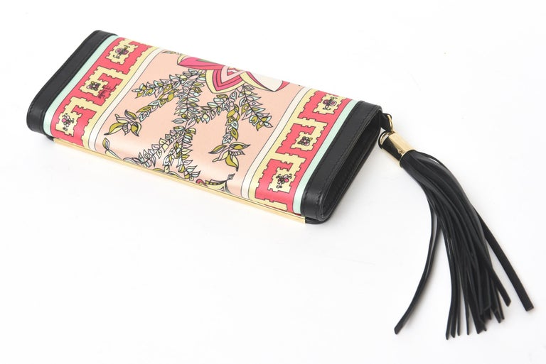 Women's  Pucci Silk and Leather Small Clutch And or Wallet For Sale