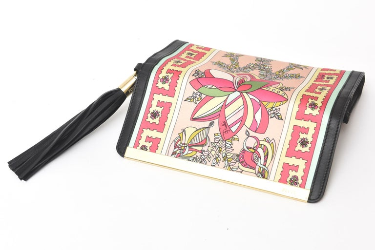 Pucci Silk and Leather Small Clutch And or Wallet For Sale 2