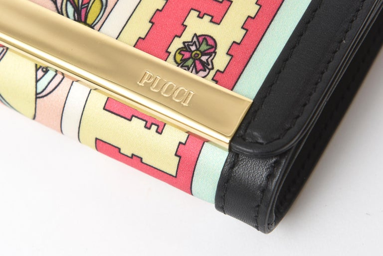 Pucci Silk and Leather Small Clutch And or Wallet For Sale 3