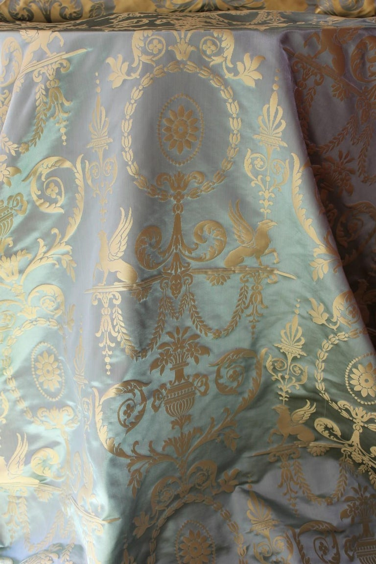 Italian Pure Silk Damask Fabric In Light Blue And Gold