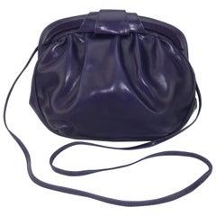 Italian Purple Leather Shoulder Strap Handbag, 1980's