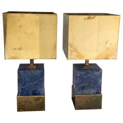 Italian Purple Resin and Brass Block Lamps with Brass Shades