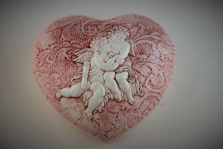 Italian Putti Heart Shaped Box For Sale 4