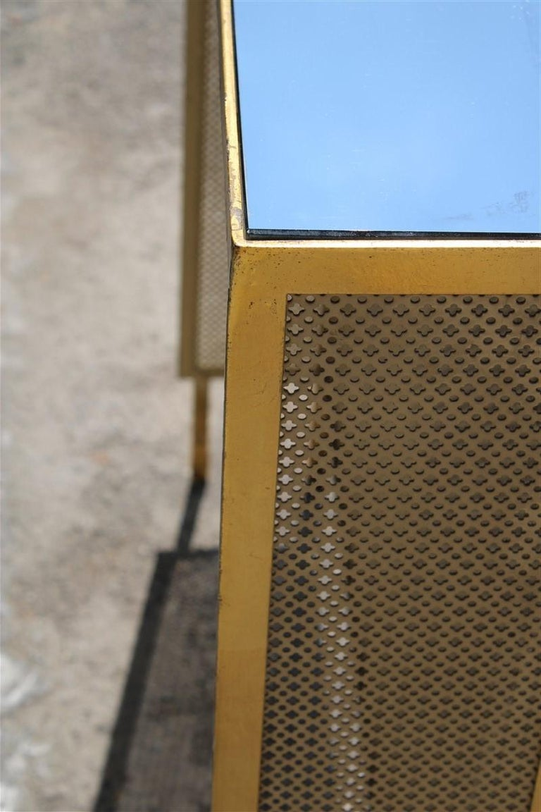 Italian Radiator Cover Midcentury in Perforated Iron Parts in Pure Gold, 1950s In Good Condition For Sale In Palermo, Sicily