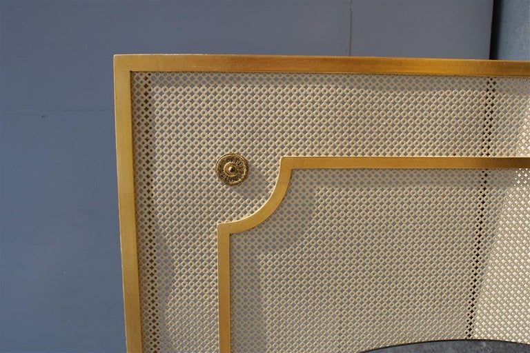 Mid-20th Century Italian Radiator Cover Midcentury in Perforated Iron Parts in Pure Gold, 1950s For Sale