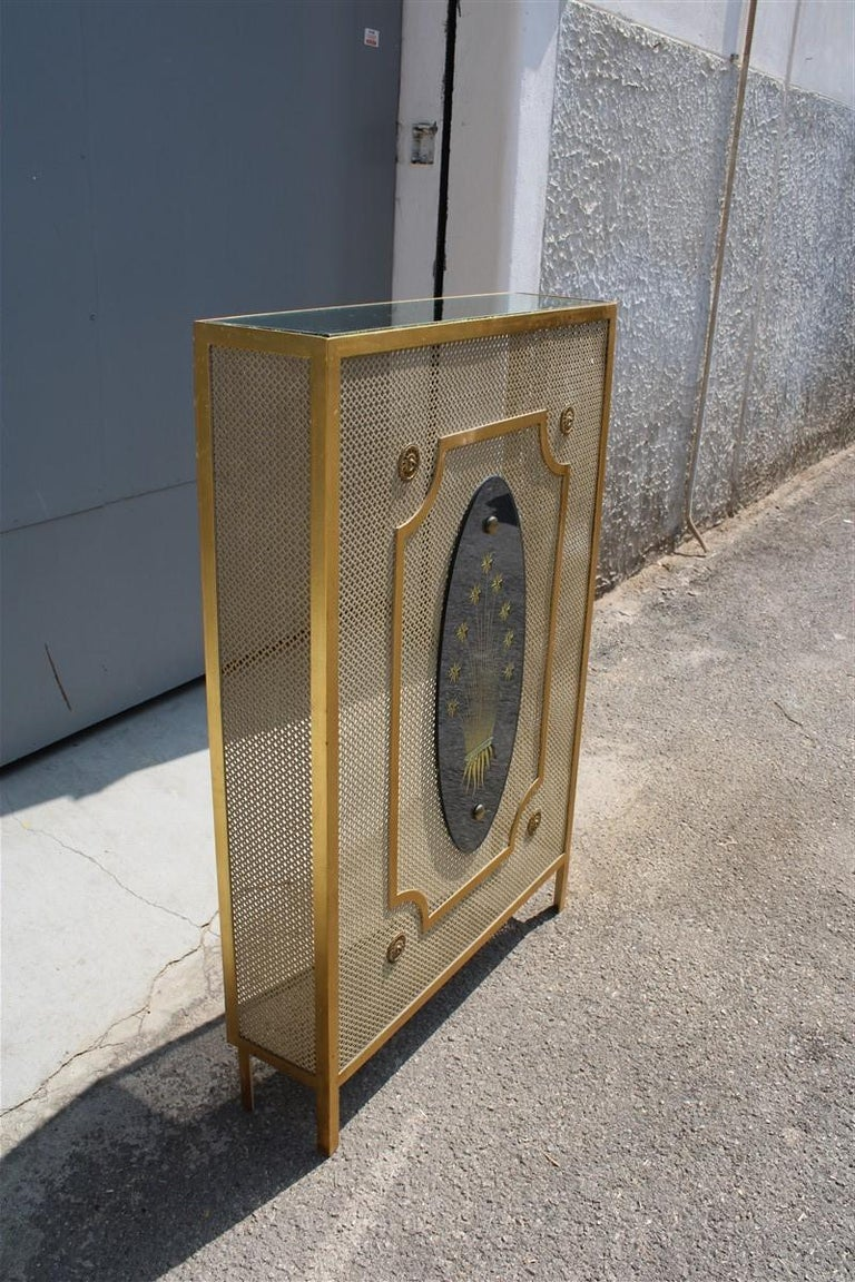 Metal Italian Radiator Cover Midcentury in Perforated Iron Parts in Pure Gold, 1950s For Sale