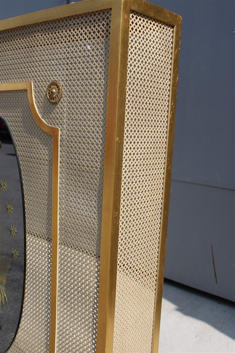 Italian Radiator Cover Midcentury in Perforated Iron Parts in Pure Gold, 1950s For Sale 1