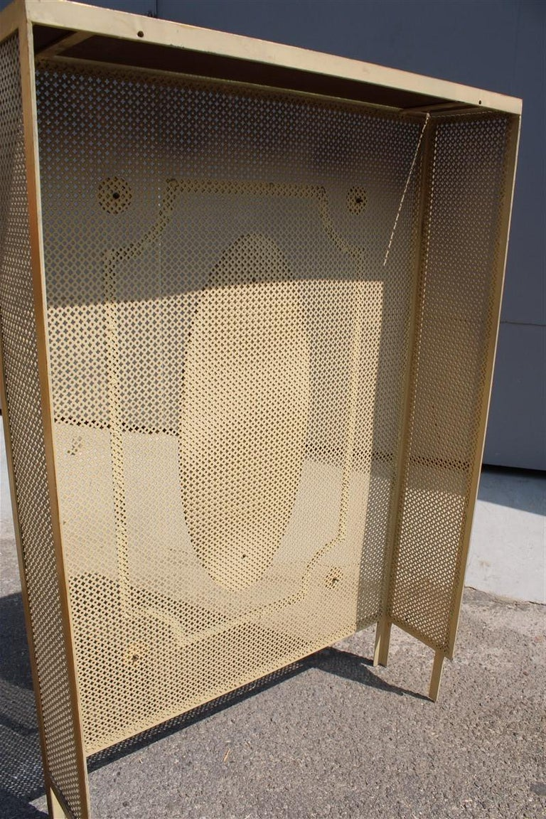 Italian Radiator Cover Midcentury in Perforated Iron Parts in Pure Gold, 1950s For Sale 2