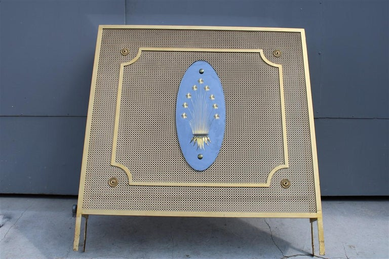 Italian Radiator Cover Midcentury in Perforated Iron Parts in Pure Gold, 1950s For Sale 3