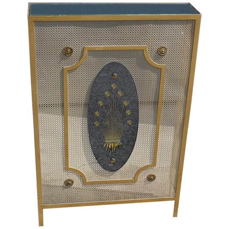 Italian Radiator Cover Midcentury in Perforated Iron Parts in Pure Gold, 1950s For Sale