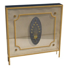 Italian Radiator Cover Midcentury in Perforated Iron Parts in Pure Gold, 1950s