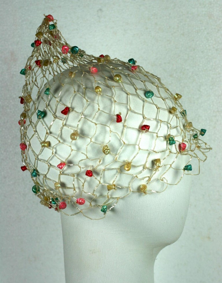 Italian Raffia Crochet and Sea Shell Beach Cap In Good Condition For Sale In Riverdale, NY