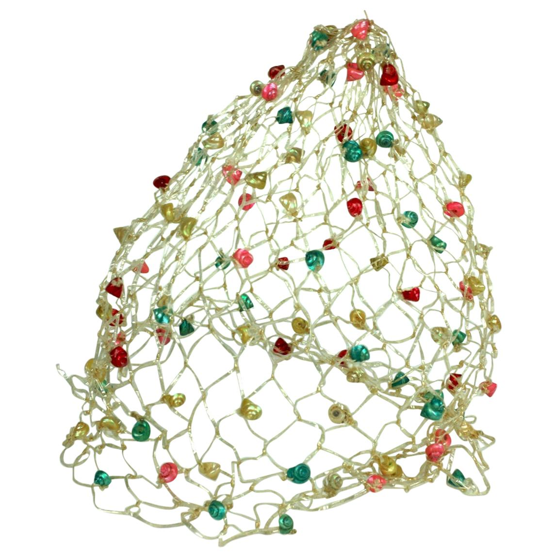 Italian Raffia Crochet and Sea Shell Beach Cap