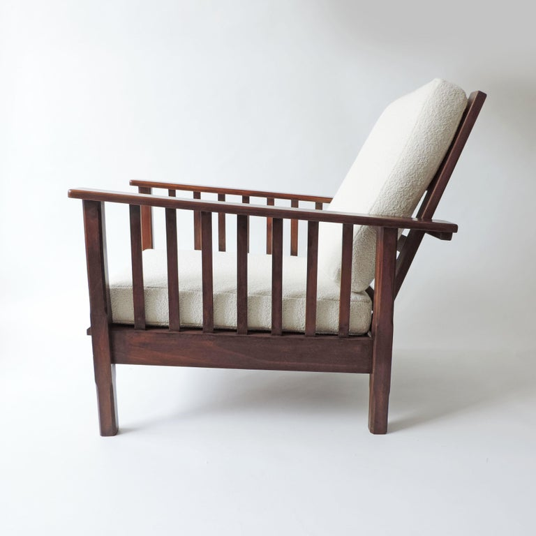Italian Rationalist Adjustable Wooden Lounge Chair, Italy 1940s For Sale 4