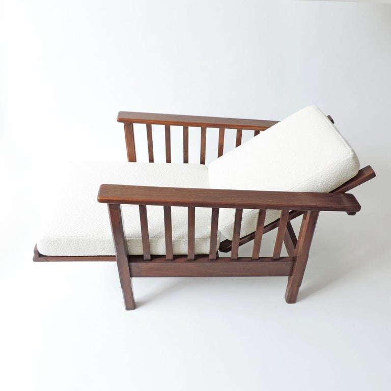 Italian Rationalist Adjustable Wooden Lounge Chair, Italy 1940s For Sale 5