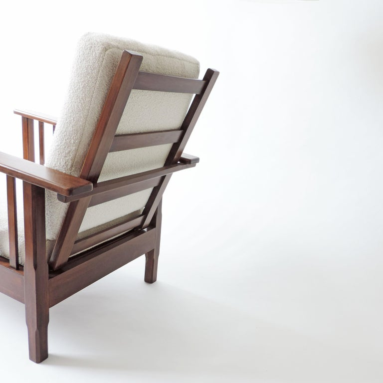 Italian Rationalist Adjustable Wooden Lounge Chair, Italy 1940s For Sale 6