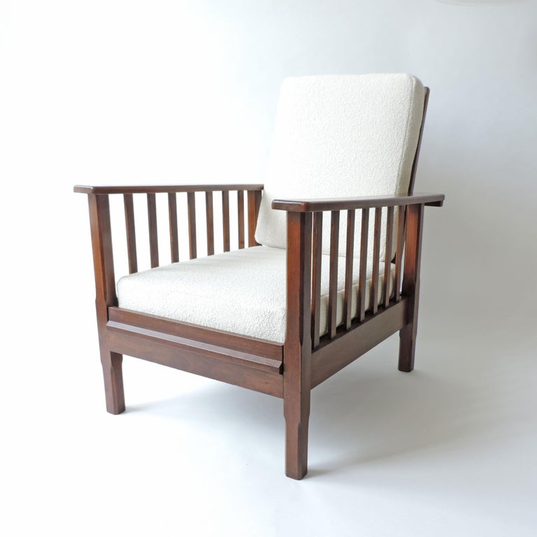 Bauhaus Italian Rationalist Adjustable Wooden Lounge Chair, Italy 1940s For Sale