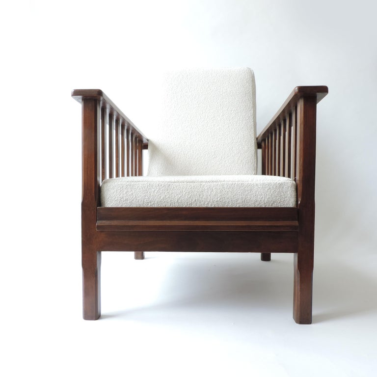 Mid-20th Century Italian Rationalist Adjustable Wooden Lounge Chair, Italy 1940s For Sale