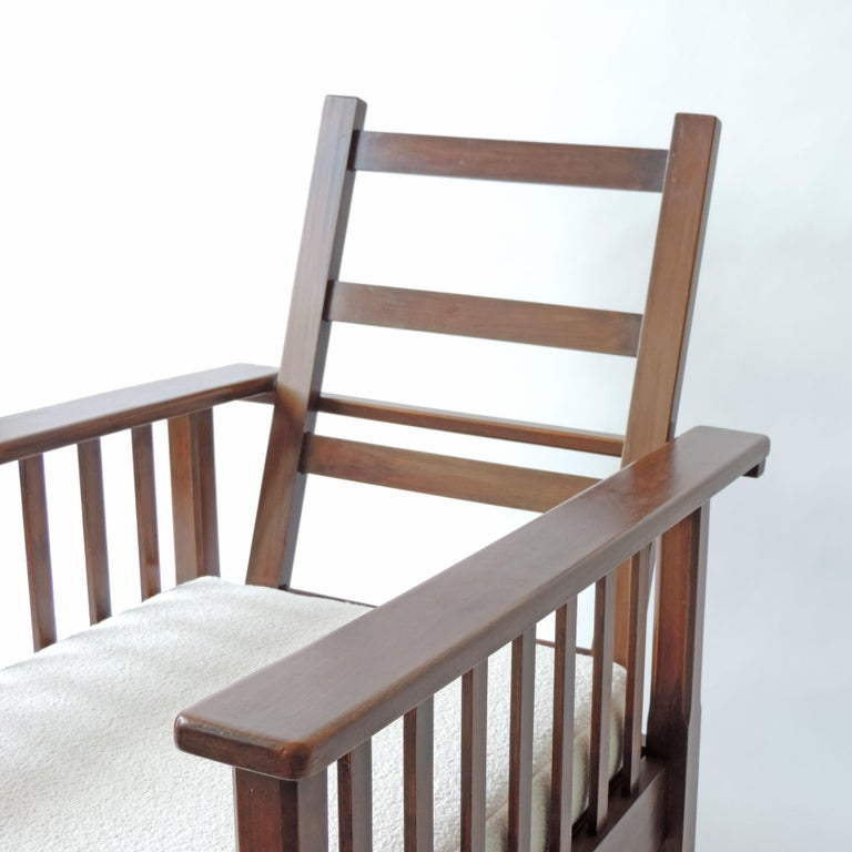 Upholstery Italian Rationalist Adjustable Wooden Lounge Chair, Italy 1940s For Sale